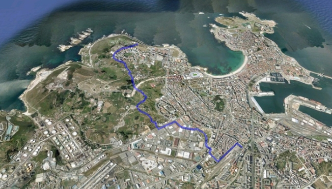 Ruta dende a Estación de Autobuses até o Monte de San Pedro