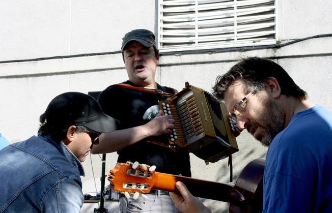 Pulpiño Viascón, Xurxo Souto e Miguel Ladrón, ensaiando